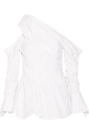 MONSE One-shoulder draped cotton-blend top