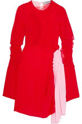 PREEN by THORNTON BREGAZZI Ruched two-tone silk crepe de chine mini dress