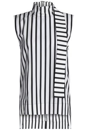 SOLACE LONDON Tie-neck striped cotton-poplin top