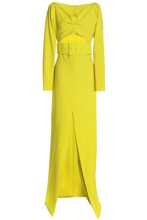 SOLACE LONDON Belted cutout gathered stretch-crepe gown
