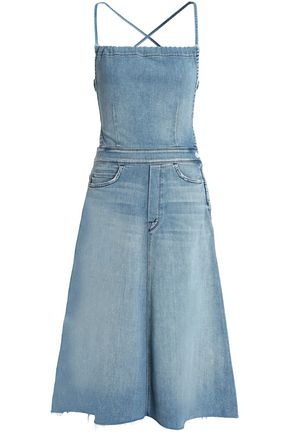 MOTHER Frayed faded denim midi dress