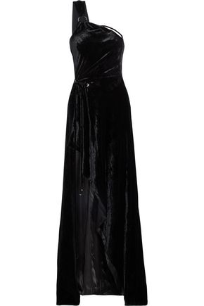 MUGLER One-shoulder chenille gown