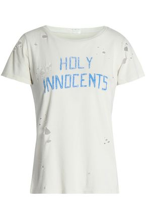 MOTHER Distressed printed cotton-jersey T-shirt