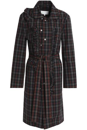 MAISON MARGIELA Ruffle-trimmed checked cotton-poplin shirt dress