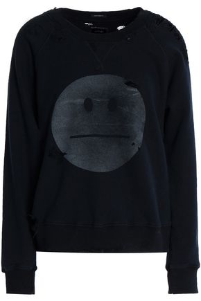 MOTHER Distressed printed cotton-terry sweatshirt