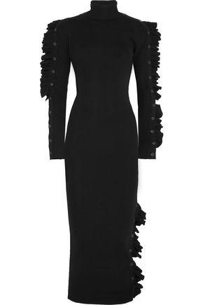 PREEN by THORNTON BREGAZZI Ruffle-trimmed wool midi dress