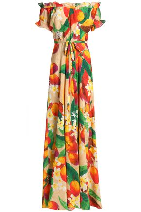 ISOLDA Carolina off-the-shoulder floral-print silk maxi dress
