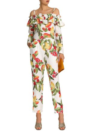 ISOLDA Cold-shoulder printed linen jumpsuit