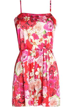 e3d63608aac7 ISOLDA Gloria pleated floral-print stretch-silk playsuit