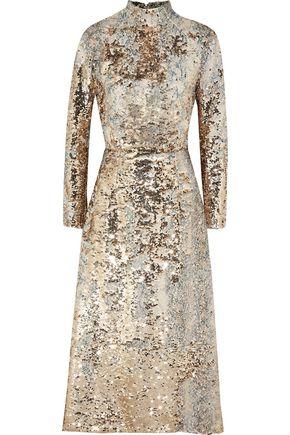 EMILIA WICKSTEAD Open-back sequined mesh midi dress