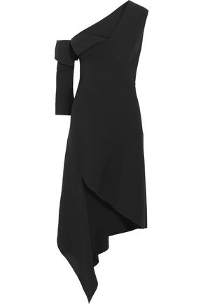 MONSE One-shoulder asymmetric wool-blend midi dress