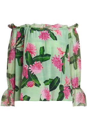 ISOLDA Off-the-shoulder floral-print silk crepe de chine blouse