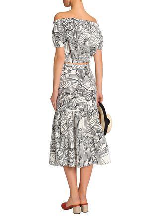 ISOLDA Ella off-the-shoulder cropped printed linen top