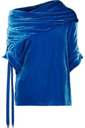 MONSE One-shoulder gathered velvet top