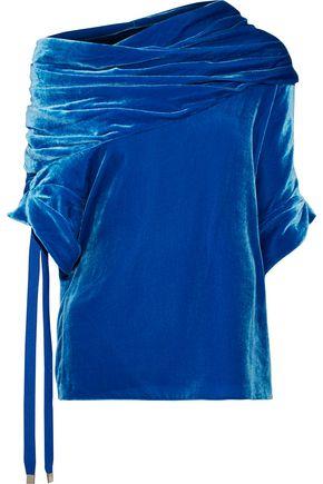 MONSE One-shoulder gathered velvet top