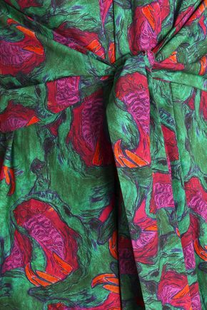 ISOLDA Silvia tie-front printed cotton-poplin midi dress