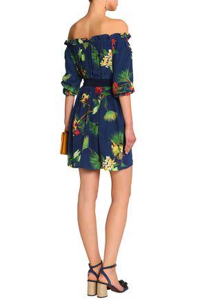 ISOLDA Fru Fru off-the-shoulder floral-print silk mini dress