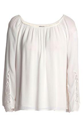 TART COLLECTIONS Macramé-trimmed plissé gauze blouse