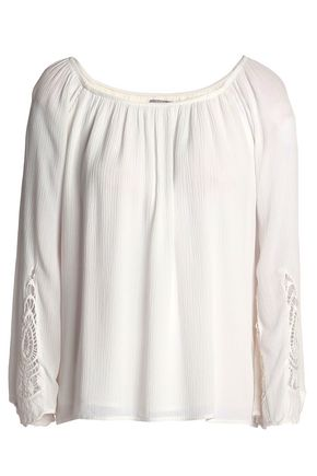 TART COLLECTIONS Macramé-paneled crinkled gauze blouse