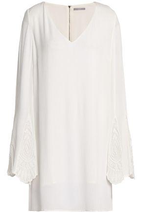 TART COLLECTIONS Macramé-paneled crinkled gauze mini dress