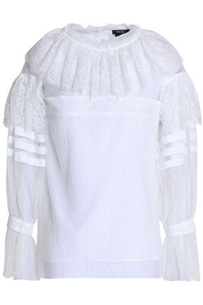RAOUL Lace-paneled ruffled point d'esprit blouse