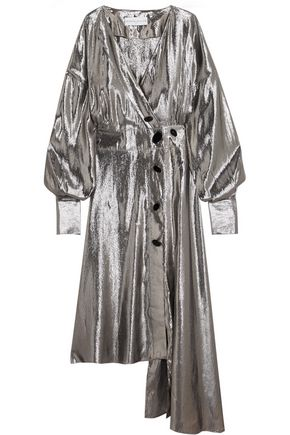 WANDA NYLON Asymmetric metallic silk-blend midi dress