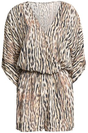 TART COLLECTIONS Wrap-effect leopard-print mousseline playsuit