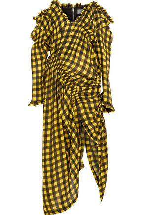 PREEN by THORNTON BREGAZZI Off-the-shoulder shirred gingham silk-jacquard dress
