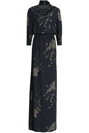 MARC JACOBS Macrame lace-paneled floral-print crepe gown