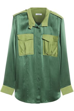 EQUIPMENT Two-tone washed-silk shirt