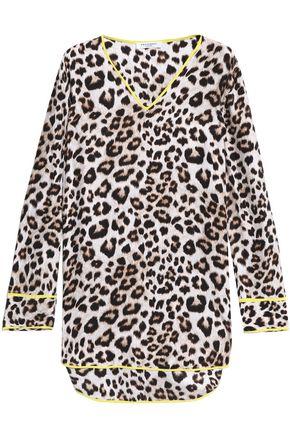 EQUIPMENT Leopard-print washed-silk tunic