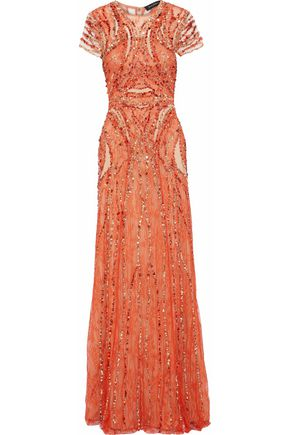JENNY PACKHAM Sequined Chantilly lace and tulle gown