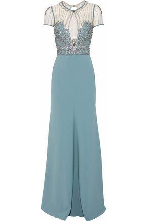 JENNY PACKHAM Embellished tulle-paneled crepe gown