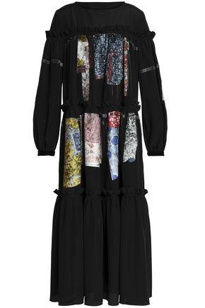 STELLA JEAN Patchwork oversized crepe midi dress