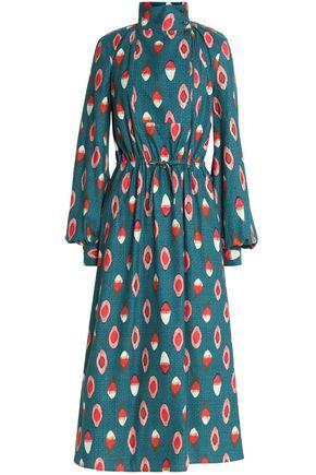 STELLA JEAN Printed cotton-twill turtleneck midi dress