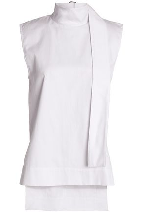 SOLACE LONDON Buckle-detailed cotton-twill turtleneck top