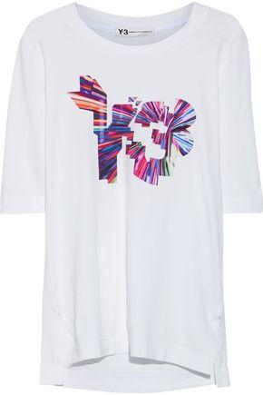 Y-3 +adidas appliquéd stretch-cotton jersey T-shirt