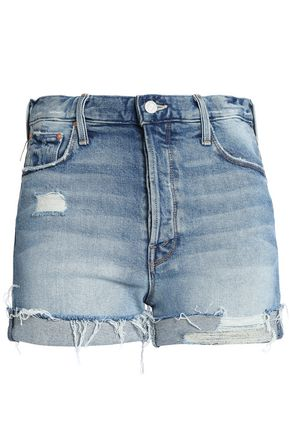 MOTHER Distressed faded denim shorts