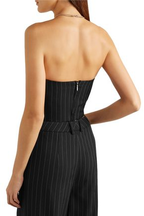 MUGLER Striped virgin wool-blend twill bustier top