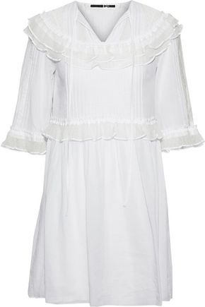 McQ Alexander McQueen Ruffled point d'espirit-paneled cotton mini dress