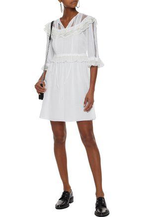 McQ Alexander McQueen Ruffled point d'espirit-paneled cotton mini dress