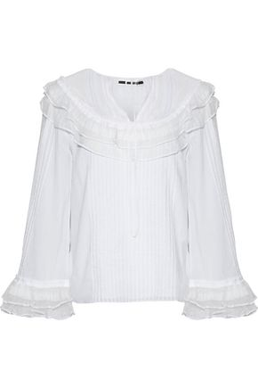 McQ Alexander McQueen Point d'esprit-paneled ruffle-trimmed cotton-voile blouse