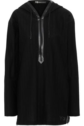 Y-3 + adidas faux leather-trimmed pleated jersey hoodie