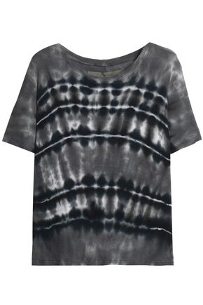 ENZA COSTA Tie-dyed ribbed jersey T-shirt