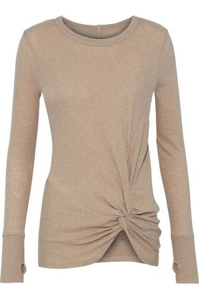 ENZA COSTA Twist-front cotton and cashmere-blend top