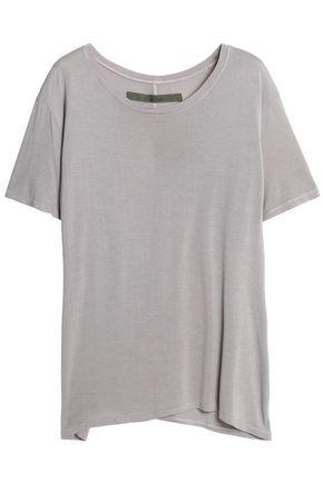 ENZA COSTA Asymmetric slub stretch-jersey T-shirt