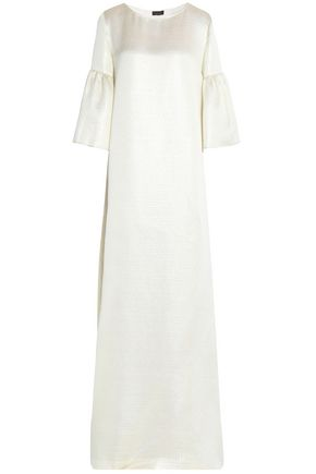 REEM ACRA Fluted metallic cloqué gown