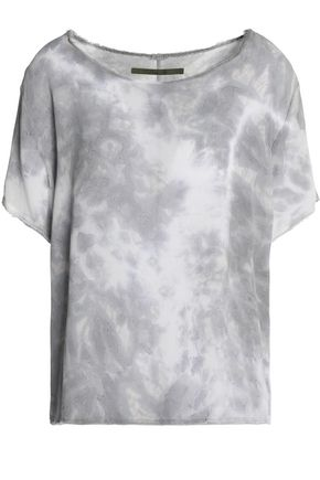 ENZA COSTA Frayed tie-dyed crepe top