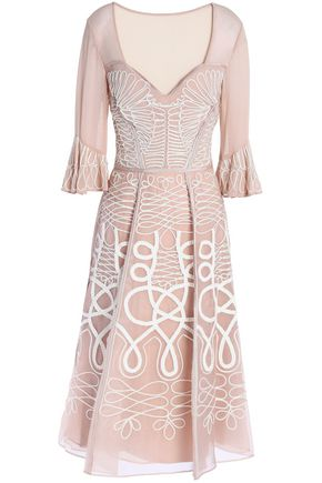 TEMPERLEY LONDON Point d'esprit-paneled appliquéd silk-organza dress