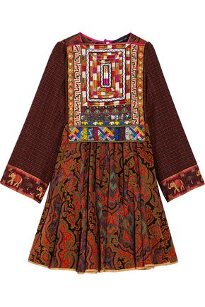 ETRO Flared embellished pleated wool mini dress